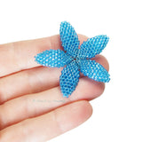 Heart in Hawaii Beaded Plumeria Flower - Aqua Aura Blue - 3 sizes