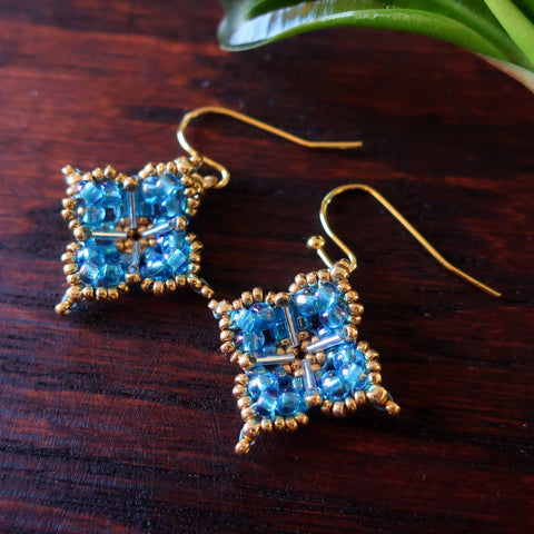 Temple Tree Quatrefoil Mandala Beaded Earrings - Aqua Aura and Gold