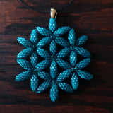 Temple Tree Flower of Life Beaded Pendant - Teal Blue