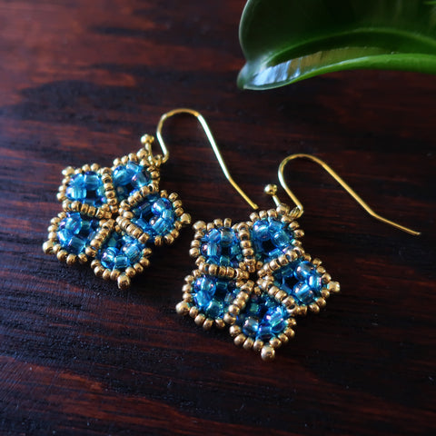 Temple Tree Mandala Flower Beaded Earrings - Aqua Aura and Gold