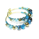 Heart in Hawaii Wire Wrapped Hoops - Aqua Blue and Gold