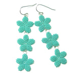 Heart in Hawaii Triple Plumeria Long Dangle Earrings - Aqua Blue