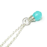 "Heart in Hawaii Crescent Moon Kahiko Pendant - Aqua Glass with 24"" Cable Chain"