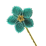 Heart in Hawaii Pua Nia Plumeria Bobby Pin - Aqua and Gold