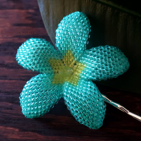 Heart in Hawaii 2.5 Inch Beaded Plumeria Flower - Aqua and Lime