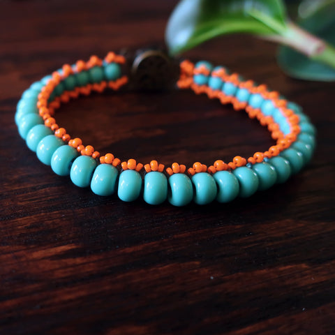 Temple Tree Boho Glass Bead Caterpillar Weave Bracelet - Aqua and Orange