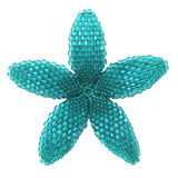 Heart in Hawaii Beaded Plumeria Flower - Aqua Blue - Large