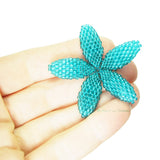 Heart in Hawaii Beaded Plumeria Flower - Aqua Blue - 3 sizes