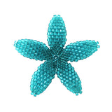 Heart in Hawaii Beaded Plumeria Flower - Aqua Blue - Medium
