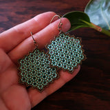 Temple Tree Hexagon Mandala Earrings - Aqua and Bronze - Large