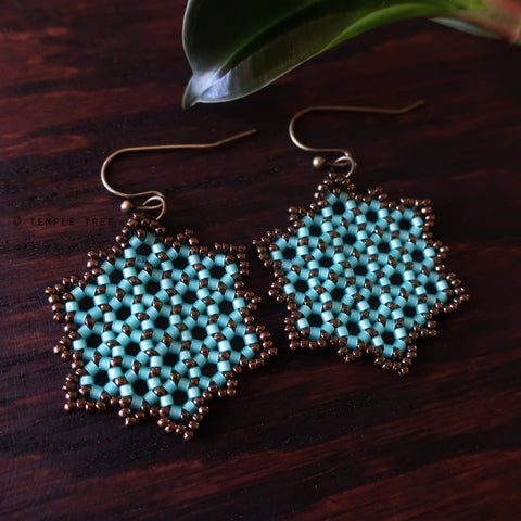 Temple Tree Hexagon Mandala Earrings - Aqua and Bronze - Medium