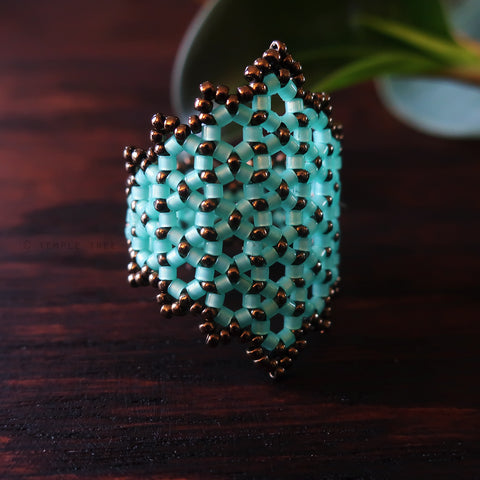 Temple Tree Hexagon Mandala Beaded Ring - Aqua and Bronze