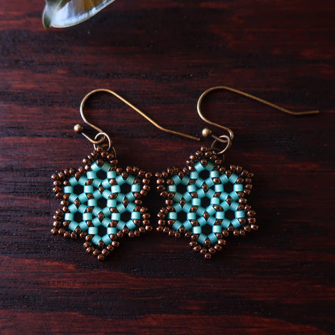 Temple Tree Hexagon Mandala Earrings - Aqua and Bronze - Tiny