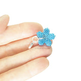 Heart in Hawaii Tiny Beaded Plumeria Clasp Charm - Aqua Aura Blue
