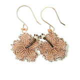 Heart in Hawaii Beaded Hibiscus Earrings - Beige and Copper