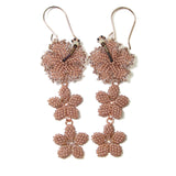 Heart in Hawaii Hibiscus and Plumeria Long Dangle Earrings - Beige and Copper