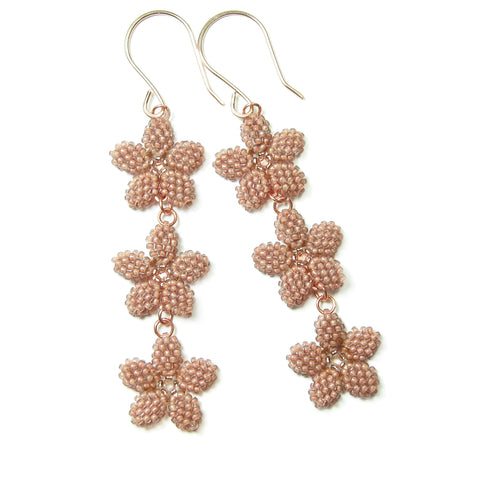 Heart in Hawaii Triple Plumeria Long Dangle Earrings - Beige with Copper