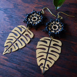 Temple Tree Dharma Wheel Earrings with Monstera - Black and Gold