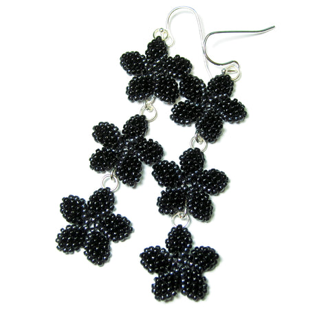 Heart in Hawaii Triple Plumeria Long Dangle Earrings - Black with Hematite