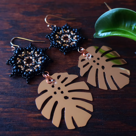 Temple Tree Dharma Wheel Earrings with Monstera - Black and Rose Gold