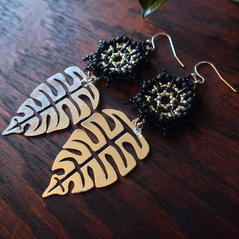 Temple Tree Dharma Wheel Earrings with Monstera - Black and Silver