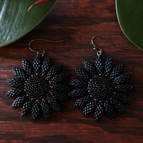 Persephone Collection Beaded Sunflower Earrings - Matte Black