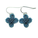 Heart in Hawaii Ixora Flowers - Tiny Beaded Quatrefoil Earrings in Blue