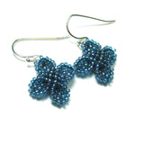Heart in Hawaii Ixora Flowers - Tiny Beaded Flower Dangles in Blue