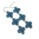 Heart in Hawaii Triple Ixora Flower Beaded Earrings - Blue