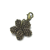 Heart in Hawaii - Tiny Doublesided Beaded Plumeria Clasp Charm - Bronze