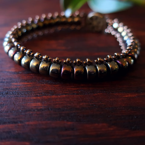 Temple Tree Bohemian Glass Bead Caterpillar Weave Bracelet - Bronze