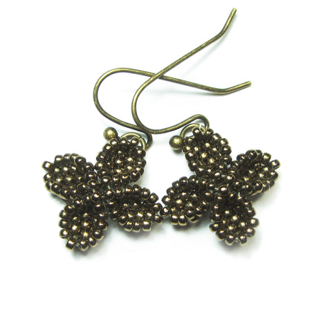 Heart in Hawaii Ixora Flowers - Tiny Beaded Quatrefoil Dangles in Bronze