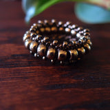 Temple Tree Bohemian Glass Bead Thumb Ring - Bronze