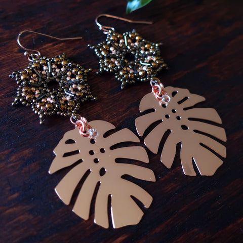 Temple Tree Dharma Wheel Earrings with Monstera - Bronze and Rose Gold