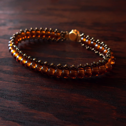 Temple Tree Boho Glass Bead Caterpillar Weave Bracelet - Brown and Bronze