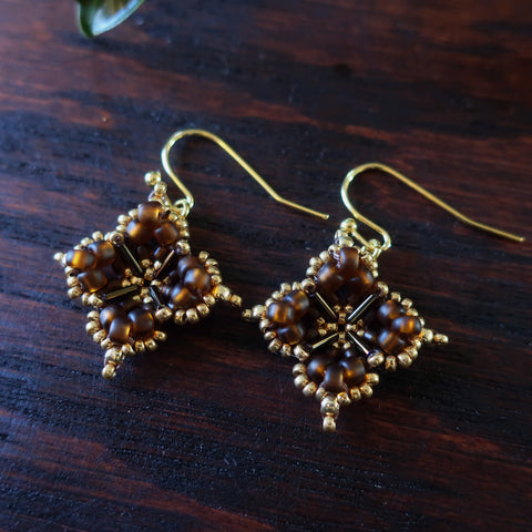 Temple Tree Quatrefoil Mandala Beaded Earrings - Matte Brown and Gold