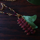Heart in Hawaii Tropical Heliconia Necklace -Burgundy - Goldtone