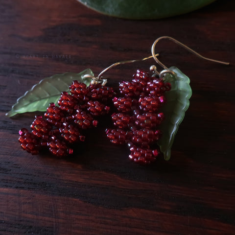 Heart in Hawaii Beaded Heliconia Earrings - Short - Burgundy