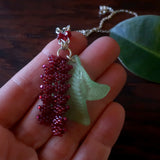 Heart in Hawaii Tropical Heliconia Necklace - Burgundy - Silvertone