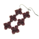 Heart in Hawaii Triple Ixora Flower Beaded Earrings - Burgundy