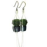 Heart in Hawaii Hanging Potted Cactus Plant Beaded Earrings
