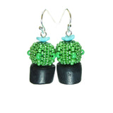 Heart in Hawaii Flowering Potted Cactus Plant Beaded Earrings