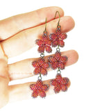 Heart in Hawaii Triple Plumeria Long Dangle Earrings - Red Ombre