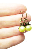 Heart in Hawaii Chartreuse Sea Stone Earrings - Bronze Wrapped Dangles