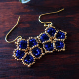 Temple Tree Mandala Flower Beaded Earrings - Cobalt and Gold