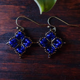 Temple Tree Quatrefoil Mandala Beaded Earrings - Cobalt and Bronze