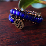 Temple Tree Boho Glass Bead Caterpillar Weave Bracelet - Cobalt and Bronze