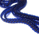 "Heart in Hawaii Extra Long 40"" Beaded Necklace with Optional Flower Clip - Cobalt and Bronze"