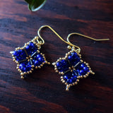 Temple Tree Quatrefoil Mandala Beaded Earrings - Cobalt and Gold