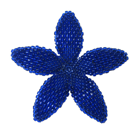 Heart in Hawaii Beaded Plumeria Flower - Cobalt Blue - Large